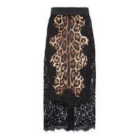 Dolce & Gabbana gonna in pizzo e raso con stampa leopardata