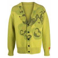 Heron Preston heavy knit cardigan camo green - verde