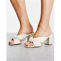 Ted Baker - pyford - sandali écru con tacco alto e nodo sul davanti-bianco